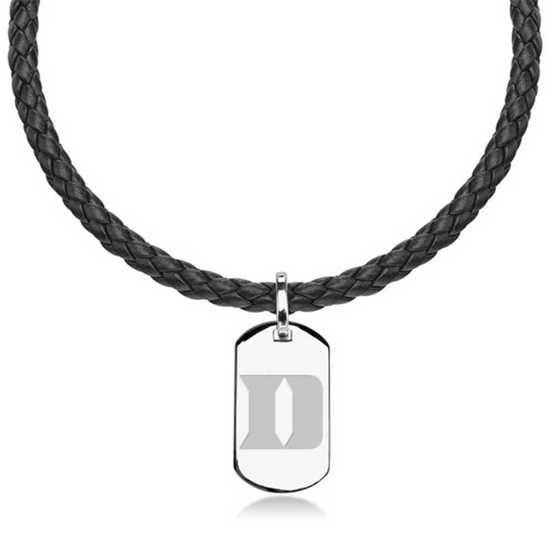 615789725114: Duke University Leather Necklace with Sterling Dog Tag