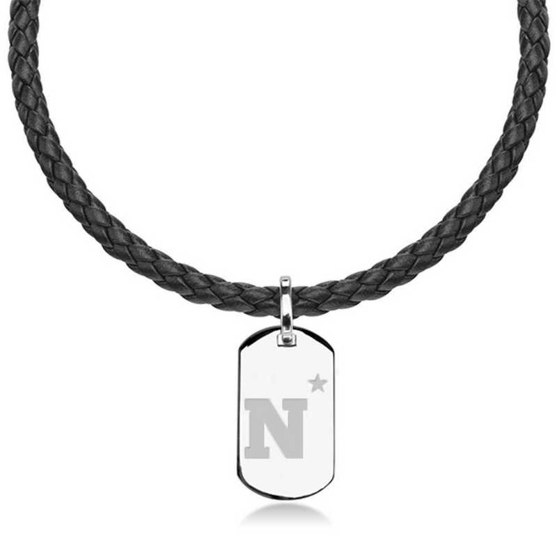 615789750024: US Naval Academy Leather Necklace with Sterling Dog Tag