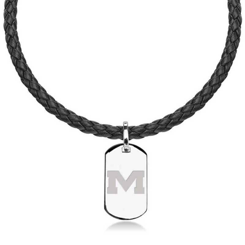 615789839835: Ole Miss Leather Necklace W/ Sterling Dog Tag