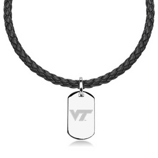 615789868408: Virginia Tech Leather Necklace W/ Sterling Dog Tag