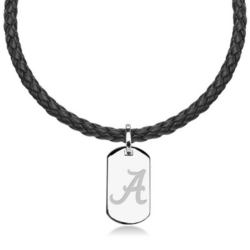 615789965817: Alabama Leather Necklace with Sterling Dog Tag