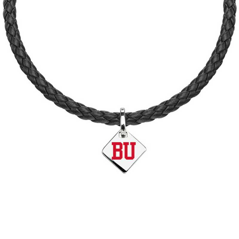 615789144601: Boston University Leather Necklace with SS Tag