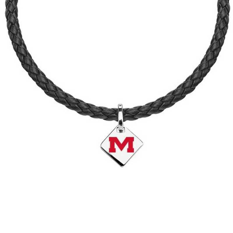 615789254331: Ole Miss Leather Necklace with SS Tag