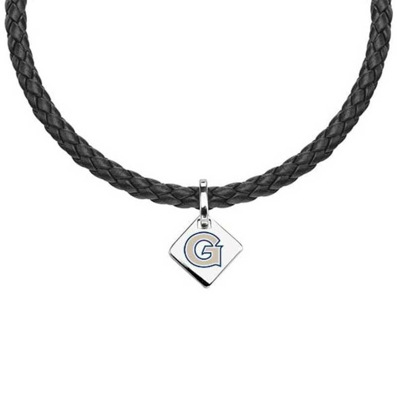 615789281863: Georgetown Leather Necklace with SS Tag