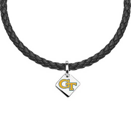 615789359371: Georgia Tech Leather Necklace with SS Tag