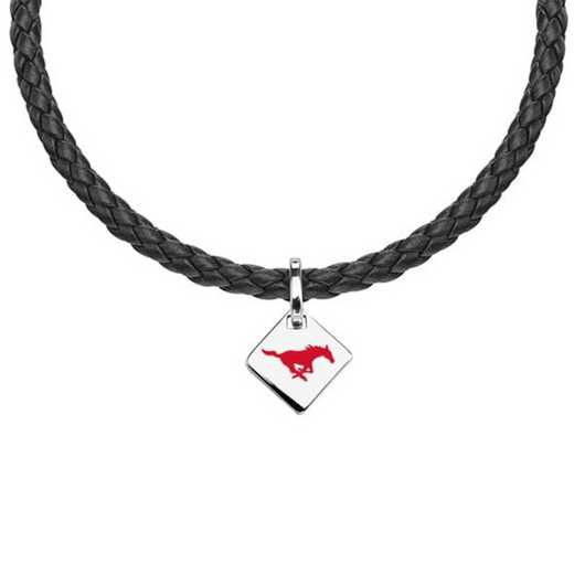615789447214: Southern Methodist University Leather Necklace with SS Tag