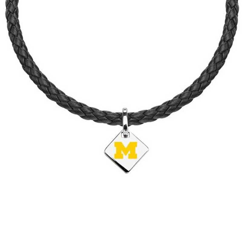 615789469193: Michigan Leather Necklace with SS Tag