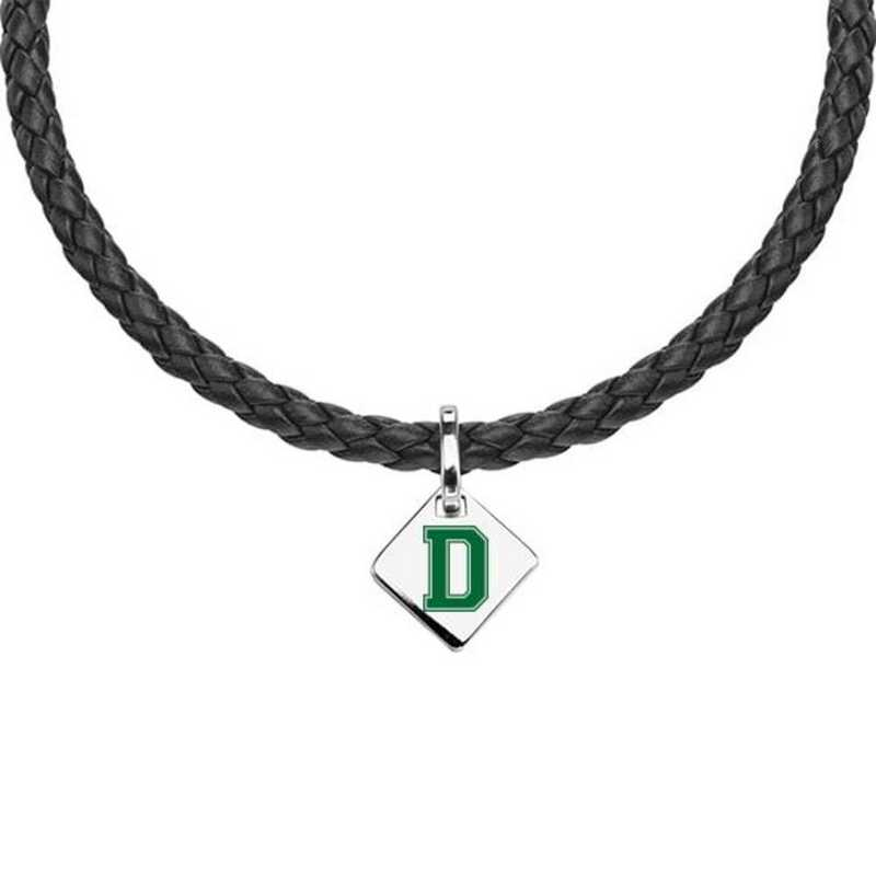 615789502258: Dartmouth Leather Necklace with SS Tag