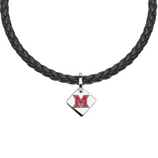 615789540199: Miami University Leather Necklace with SS Tag