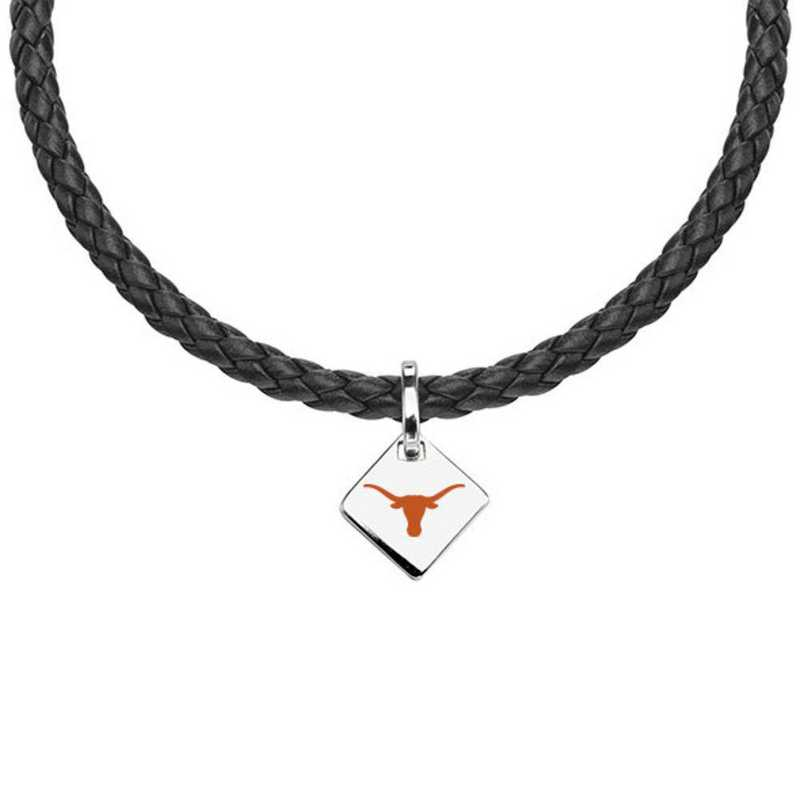 615789570844: University of Texas Leather Necklace with SS Tag
