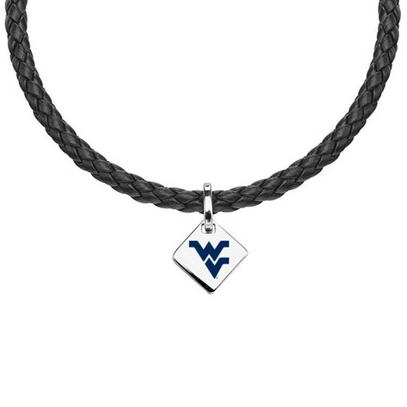 615789722694: West Virginia University Leather Necklace with SS Tag