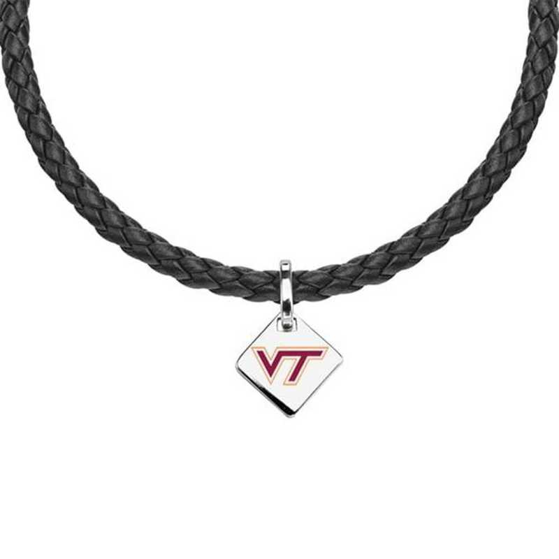 615789724346: Virginia Tech Leather Necklace with SS Tag