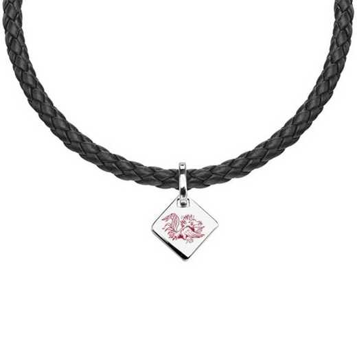 615789729785: University of South Carolina Leather Necklace with SS Tag