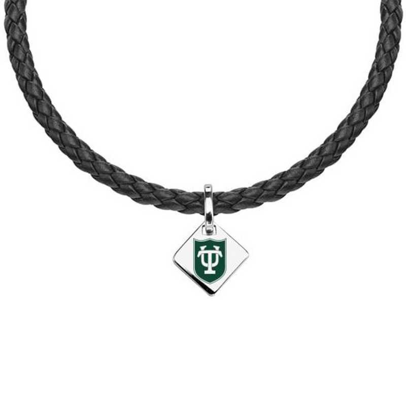 615789846666: Tulane University Leather Necklace with SS Tag