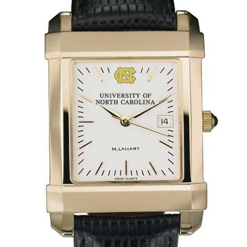 615789330264: UNC Men's Gold Quad Watch W/ Leather Strap