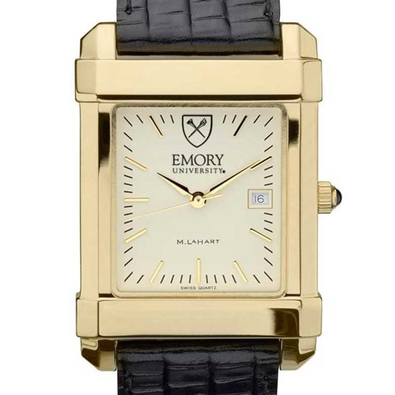 615789333388: Emory Men's Gold Quad Watch W/ Leather Strap