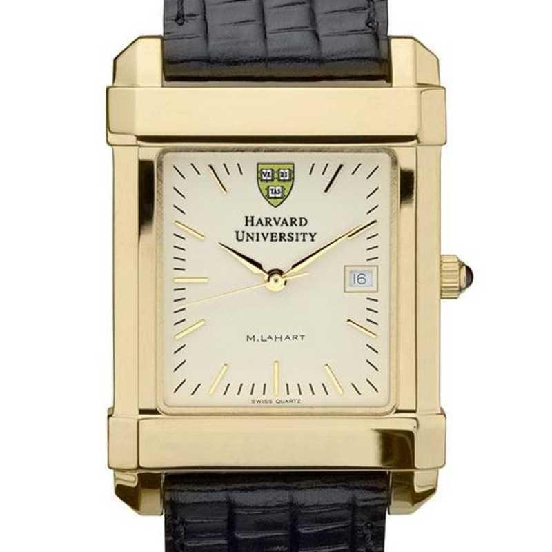 615789410096: Harvard Men's Gold Quad Watch W/ Leather Strap