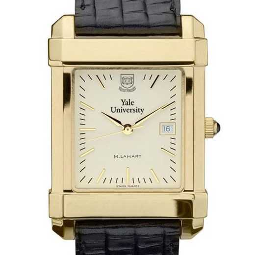 615789410416: Yale Men's Gold Quad Watch W/ Leather Strap
