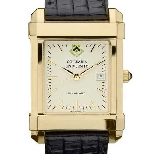 615789410577: Columbia Univ Men's Gold Quad Watch W/ Leather Strap