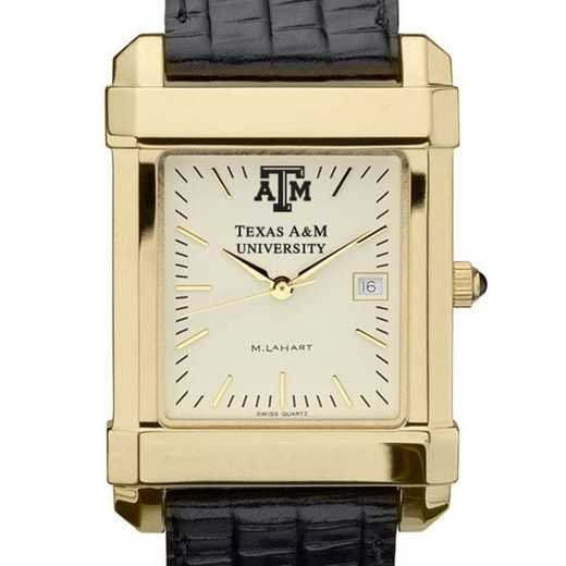 615789411413: Texas A&M Men's Gold Quad Watch W/ Leather Strap