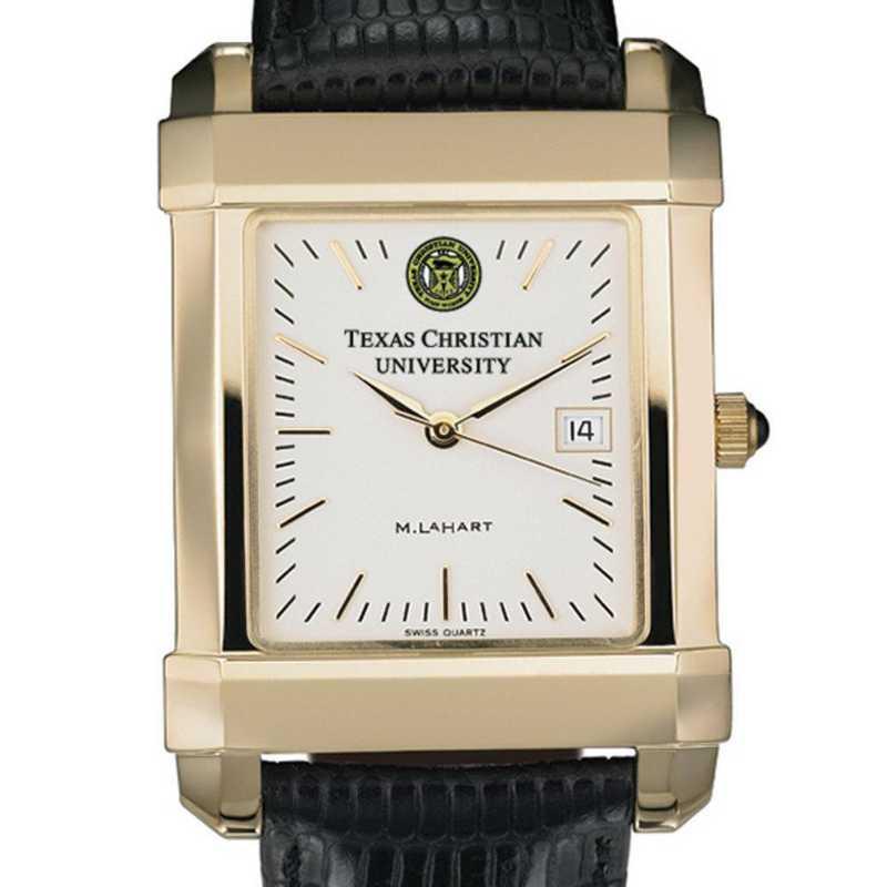 615789411437: TCU Men's Gold Quad Watch W/ Leather Strap