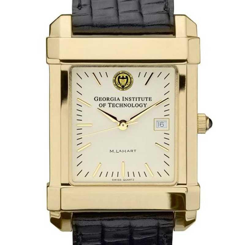 615789432265: Georgia Tech Men's Gold Quad Watch W/ Leather Strap