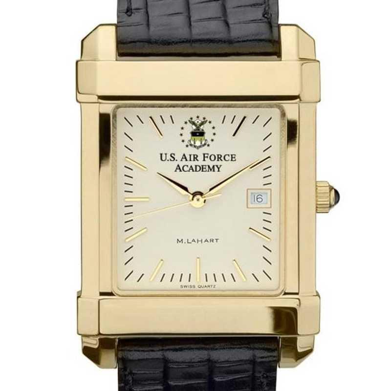 615789530848: USAFA Men's Gold Quad Watch W/ Leather Strap