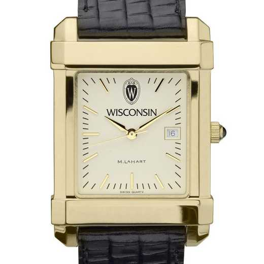 615789634669: Wisconsin Men's Gold Quad Watch W/ Leather Strap