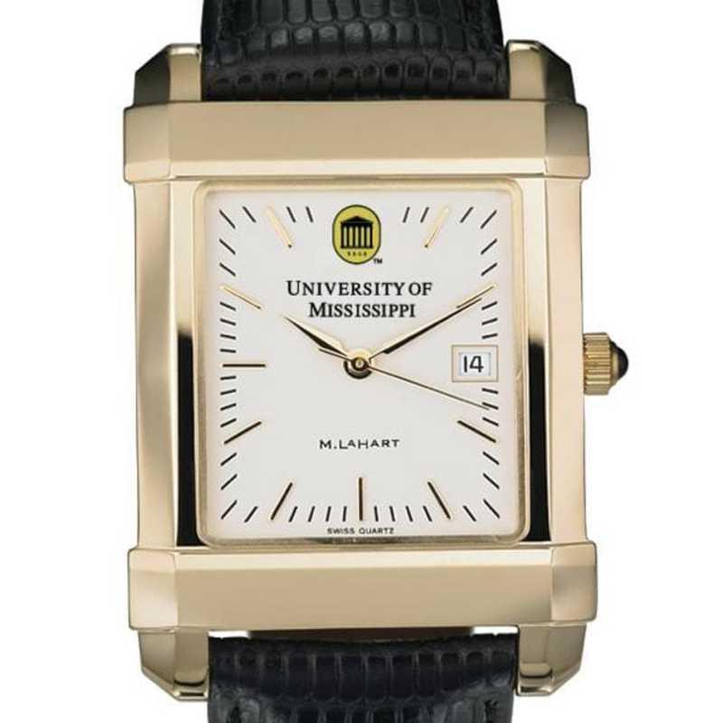 615789681205: Ole Miss Men's Gold Quad Watch W/ Leather Strap