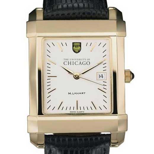 615789805694: Chicago Men's Gold Quad Watch W/ Leather Strap