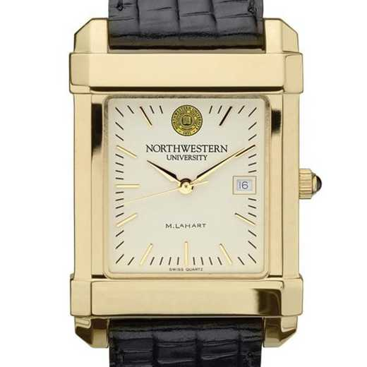 615789832775: Northwestern Men's Gold Quad Watch W/ Leather Strap