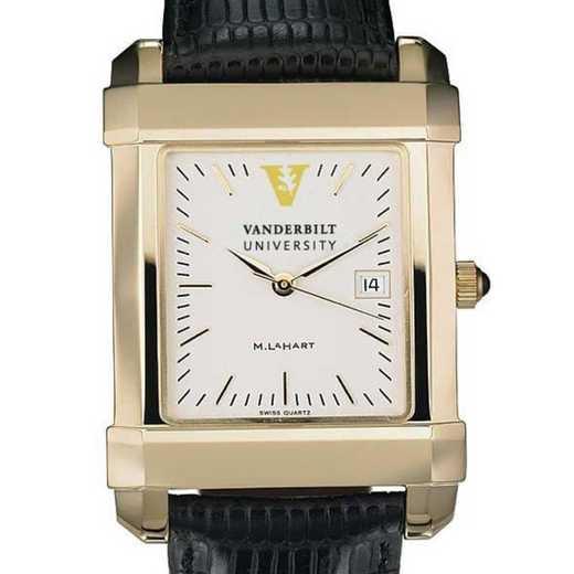 615789984290: Vanderbilt Men's Gold Quad Watch W/ Leather Strap