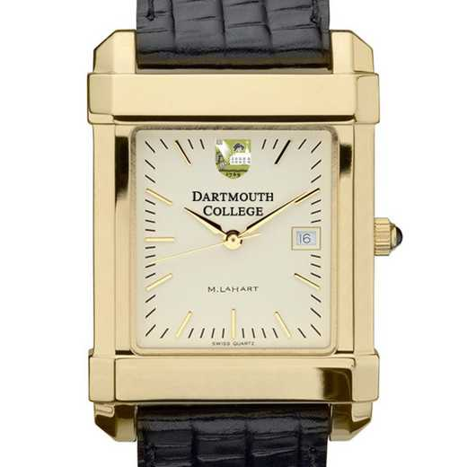 615789991076: Dartmouth Men's Gold Quad Watch W/ Leather Strap
