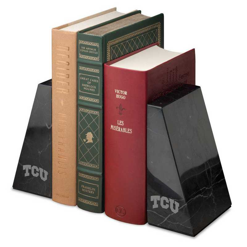 615789970477: Texas Christian University Marble Bookends