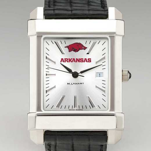 615789135128: Univ of Arkansas Men's Collegiate Watch w/Leather Strap