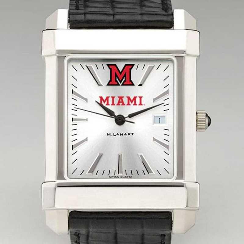 615789176947: Miami Univ Men's Collegiate Watch W/ Leather Strap