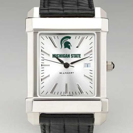 615789362418: Michigan State Men's Collegiate Watch W/ Leather Strap