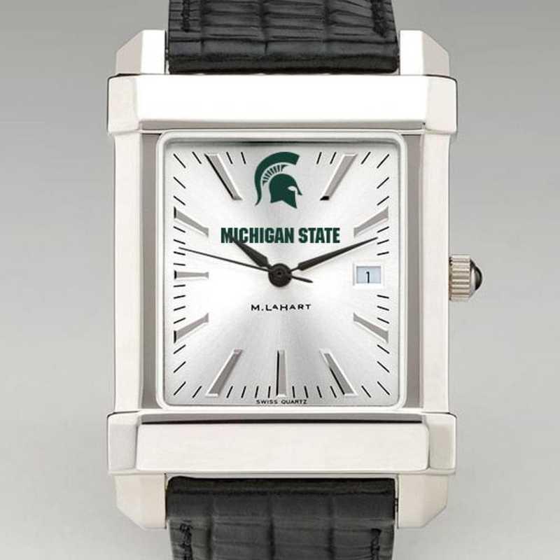 615789362418: Michigan State Men's Collegiate Watch W/ Leather Strap