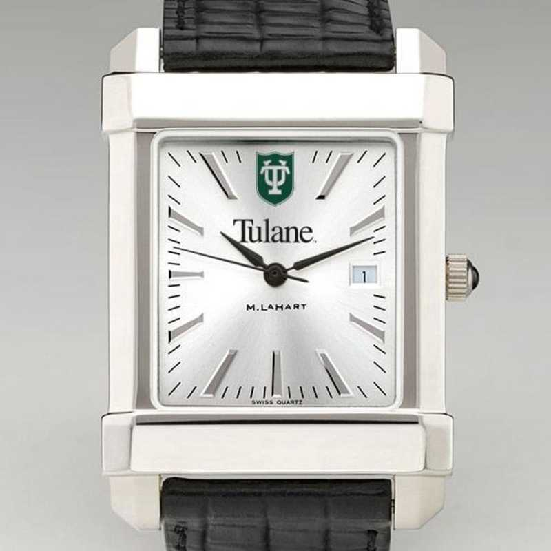 615789390527: Tulane Men's Collegiate Watch W/ Leather Strap