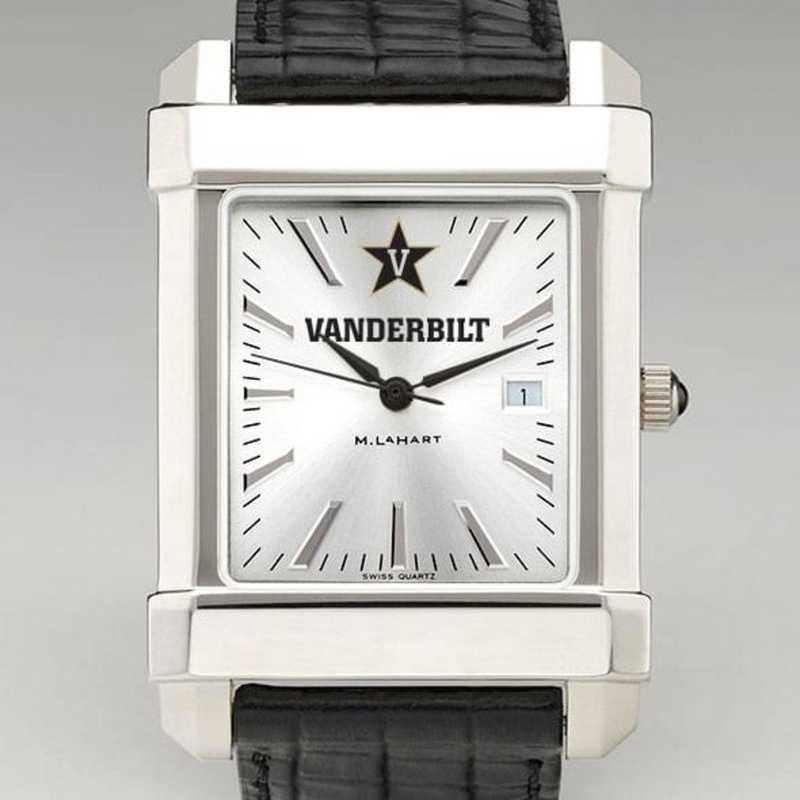 615789656425: Vanderbilt Men's Collegiate Watch W/ Leather Strap