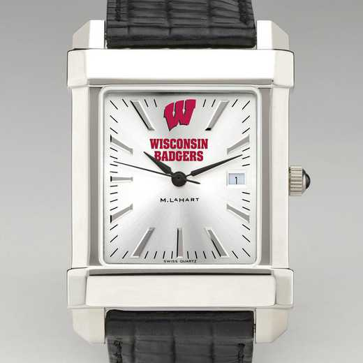 615789679080: Wisconsin Men's Collegiate Watch W/ Leather Strap