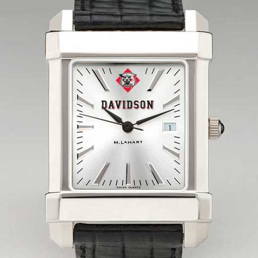 615789693802: Davidson College Men's Collegiate Watch W/ Leather Strap