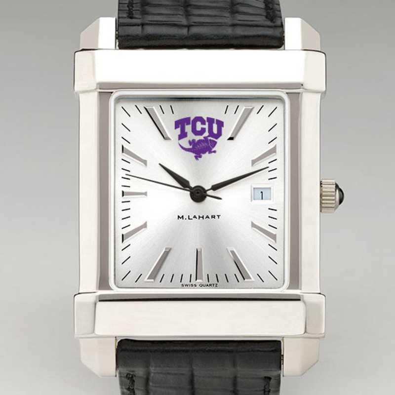 615789742968: Texas Christian Univ Men's Collegiate Watch W/ Leather Strap