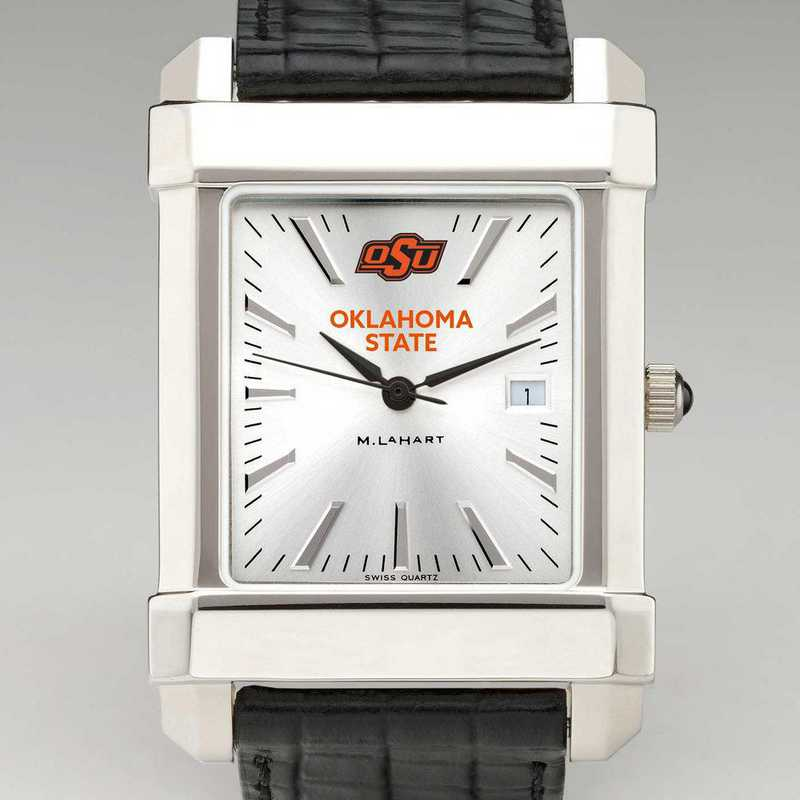 615789797074: Oklahoma State Univ Men's Collegiate Watch W/ Leather Strap