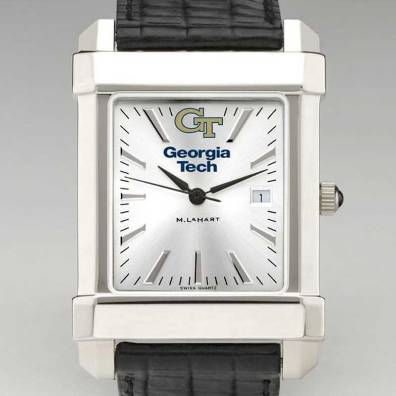 615789889984: GeorgiaTech Men's Collegiate Watch W/ Leather Strap