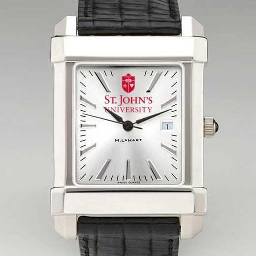 615789895183: St. John's Men's Collegiate Watch W/ Leather Strap