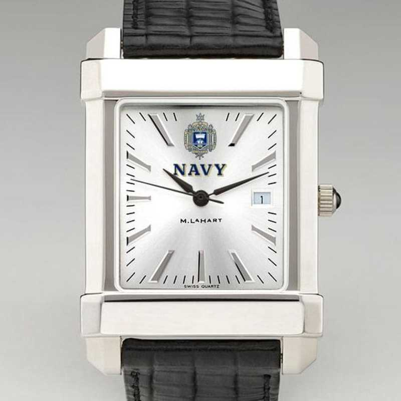 615789924630: Navy Men's Collegiate Watch W/ Leather Strap