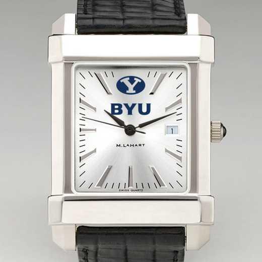 615789963943: Brigham Young Univ Men's Collegiate Watch W/ Leather Strap