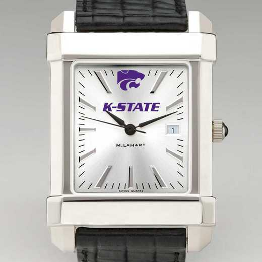 615789971627: Kansas State Univ Men's Collegiate Watch W/ Leather Strap