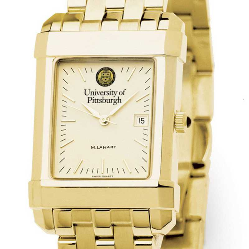 615789020585: Pittsburgh Men's Gold Quad Watch with Bracelet